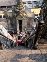 The steep steps going down